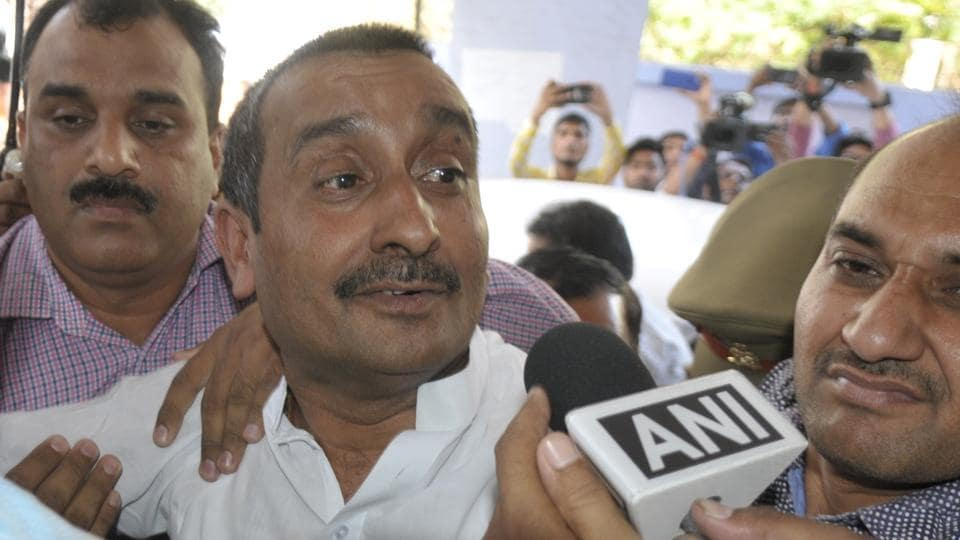 BJP lawmaker Kuldeep Singh Sengar being produced at a CBI court in Lucknow on April 14, 2018. The legislator was arrested on Friday in connection with the rape of a teenager in Unnao last year.