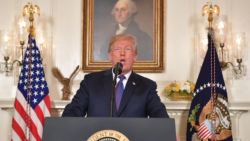 US President Donald Trump addresses the nation on the situation in Syria April 13, 2018 at the White House in Washington, DC.