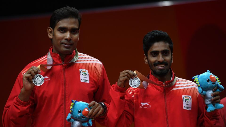 Achanta Sharath Kamal-Sathiyan Gnanasekaran lost the table tennis men's doubles final to settle for silver. Earlier, Sharath Kamal was beaten 0-4 by Nigeria's Quadri Aruna in the men's singles semi-final. (AFP)