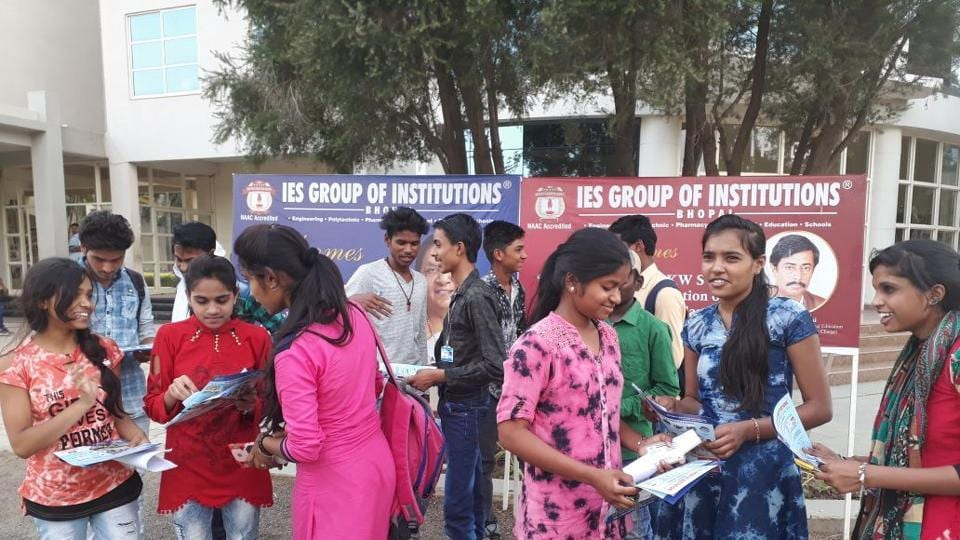 Students coming out after appearing in JEE main online examination in Bhopal on Sunday.