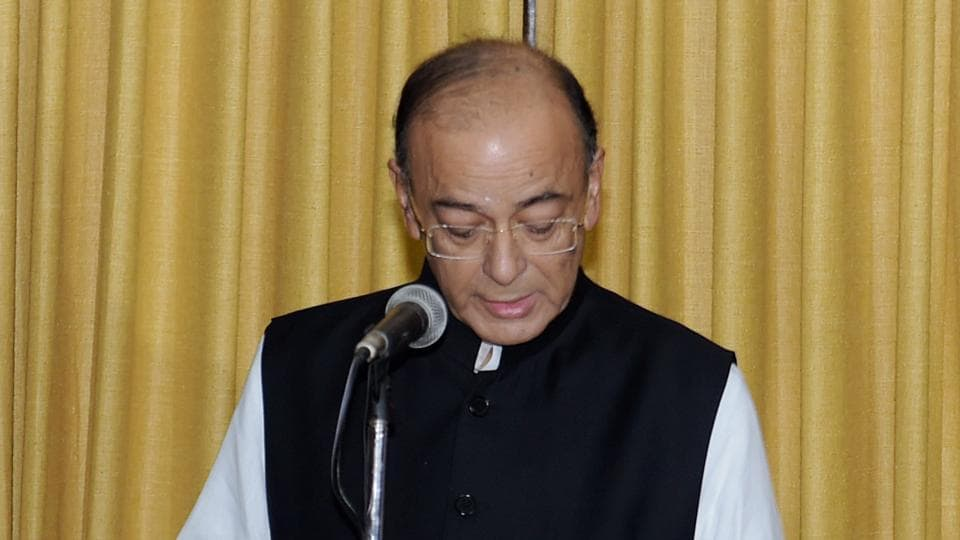 Union finance minister Arun Jaitley, who was re-elected to the Rajya Sabha last month, takes oath for his new term at Parliament House in New Delhi on Sunday.