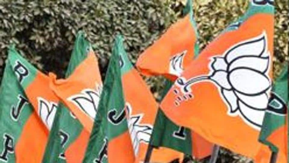 BJP Party Flags at BJP headquarter in New Delhi.