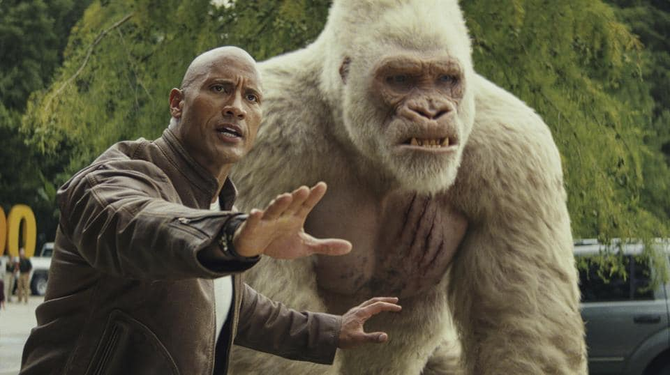 This image released by Warner Bros. shows Dwayne Johnson in a scene from Rampage.
