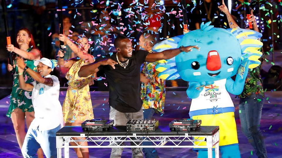 Former Jamaican sprinter Usain Bolts plays the DJ during the closing ceremony of the 2018 Commonwealth Games (CWG 2018) in Gold Coast onSunday.
