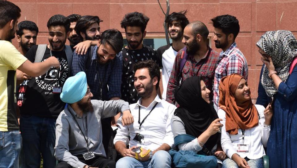 Kashmiri students in a jubilant mood at Chandigarh University, Gharuan, in Mohali on Thursday.