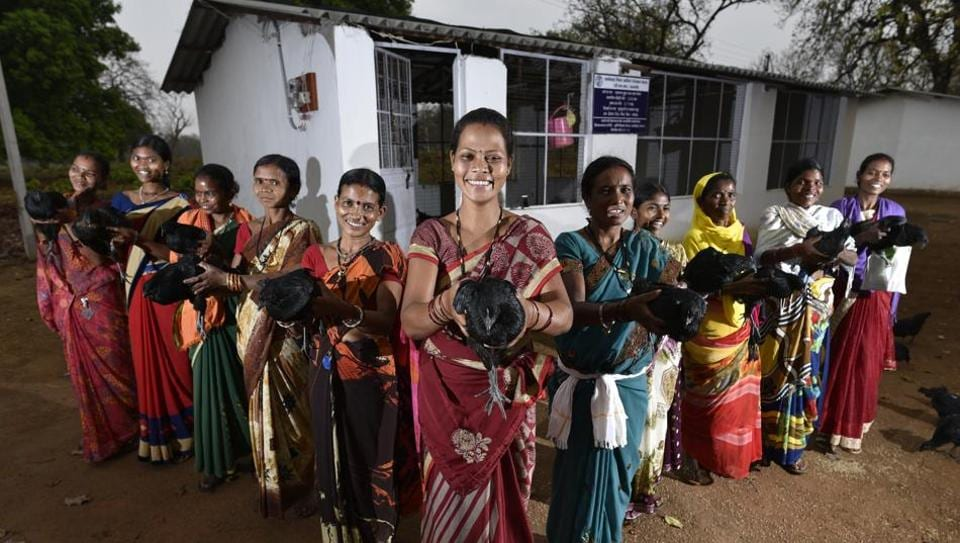 Women are being given Kadaknath chicken  at a fraction of the cost, and with the money they are making from rearing and selling them, they're rain-proofing their homes, paying for siblings to go to college and, in one case, buying a motorcycle.