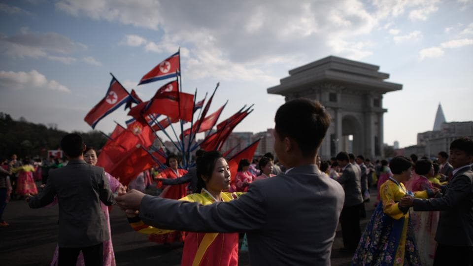 Students take part in a mass dance event during celebrations marking the anniversary of the birth of late North Korean leader Kim Il Sung in Pyongyang April 15, 2018.