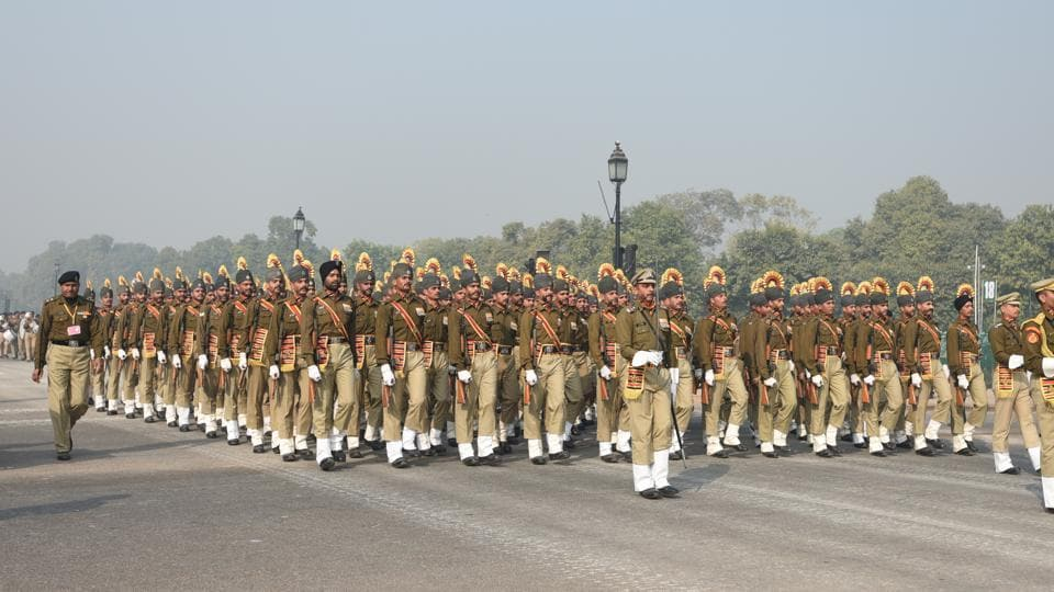Sashastra Seema Bal jawans march during the rehearsals for Republic Day celebrations, in New Delhi.