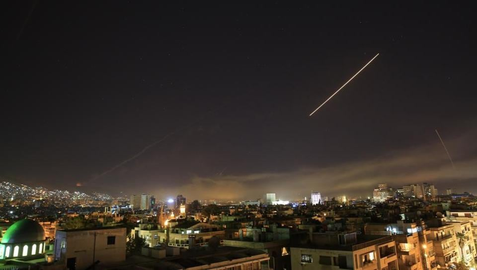 Damascus skies are alight as the US launches an attack on Syria, targeting different parts of the capital Damascus.