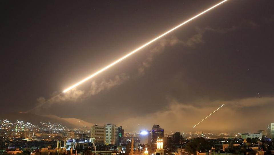 Damascus skies erupt with service to air missile fire as the US launches an attack on Syria targeting different parts of the Syrian capital Damascus, Syria.