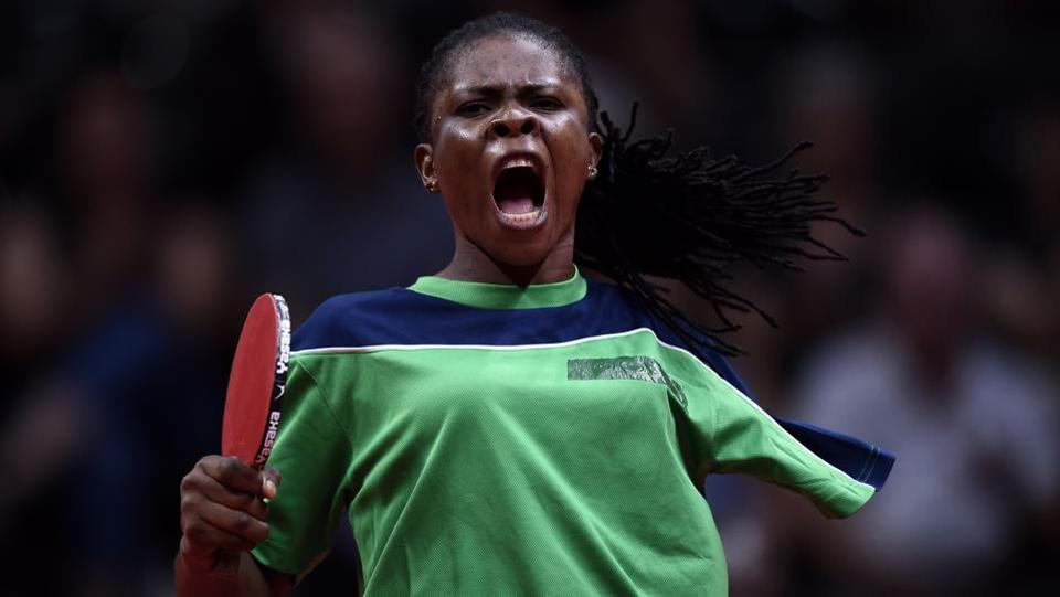 Nigeria's Faith Obazuaye reacts during the women's TT6-10 singles gold medal final table tennis match against Australia's Melissa Tapper at the 2018 Commonwealth Games, in Gold Coast on April 14, 2018. (Ye Aung Thu / AFP)