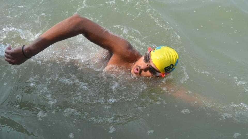 Sampanna Shelar during his swimming expedition from St Martin's Island to Teknaf Jetty in Bangladesh.