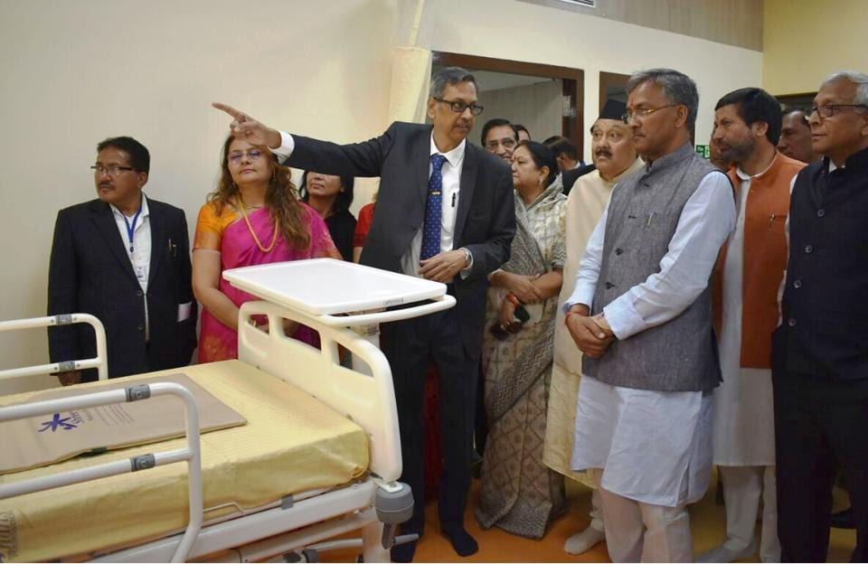 An intensive care unit inaugurated by chief minister TS Rawat at the Pithoragarh district hospital in Uttarakhand on April 14.