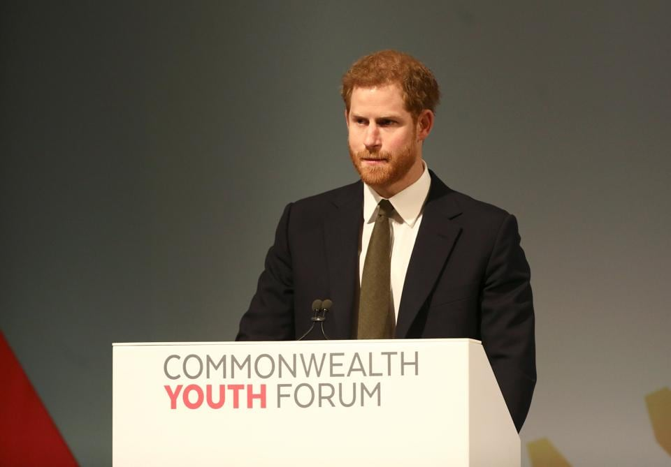 Britain's Prince Harry at a youth forum on the sidelines of the Commonwealth Heads of Government Meeting in London