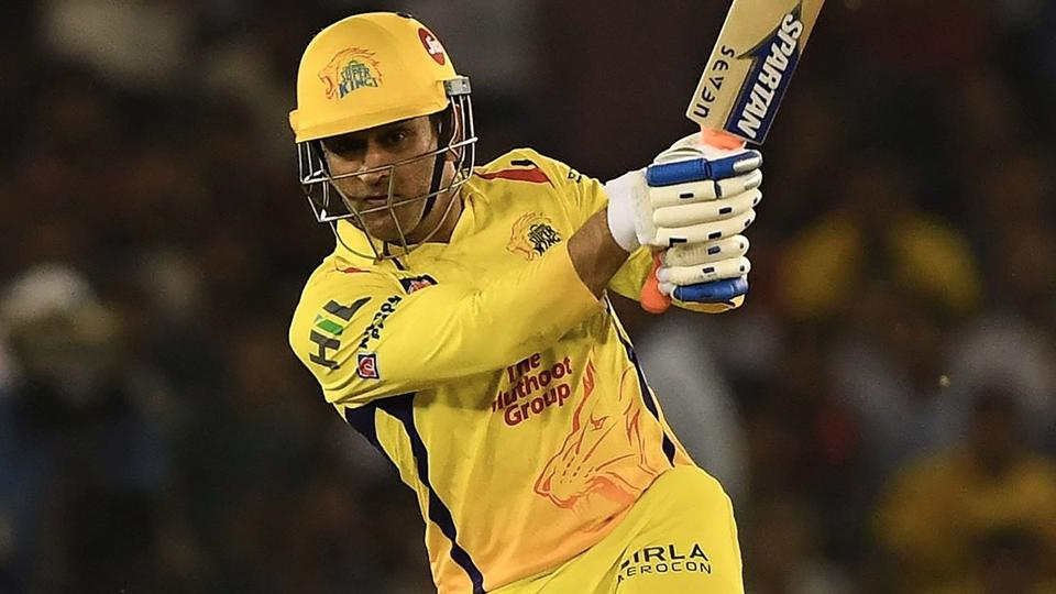 Chennai Super Kings captain MS Dhoni plays a shot during the 2018 Indian Premier League (IPL 2018) match against Kings XI Punjab at the Punjab Cricket Association Stadium in Mohali on Sunday.