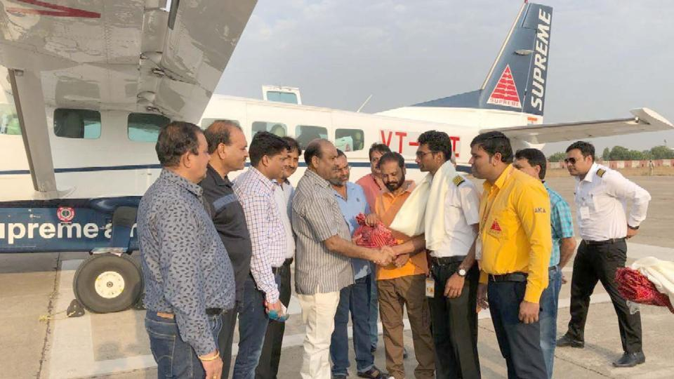 First flight from Kota to Delhi started from Kota Airport on Wednesday.