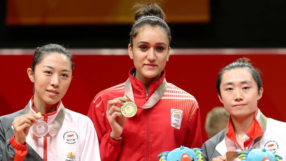 Manika Batra (R) was one of the biggest positives for India at the 2018 Gold Coast Commonwealth Games as she won two gold, one silver and one bronze medal in table tennis.