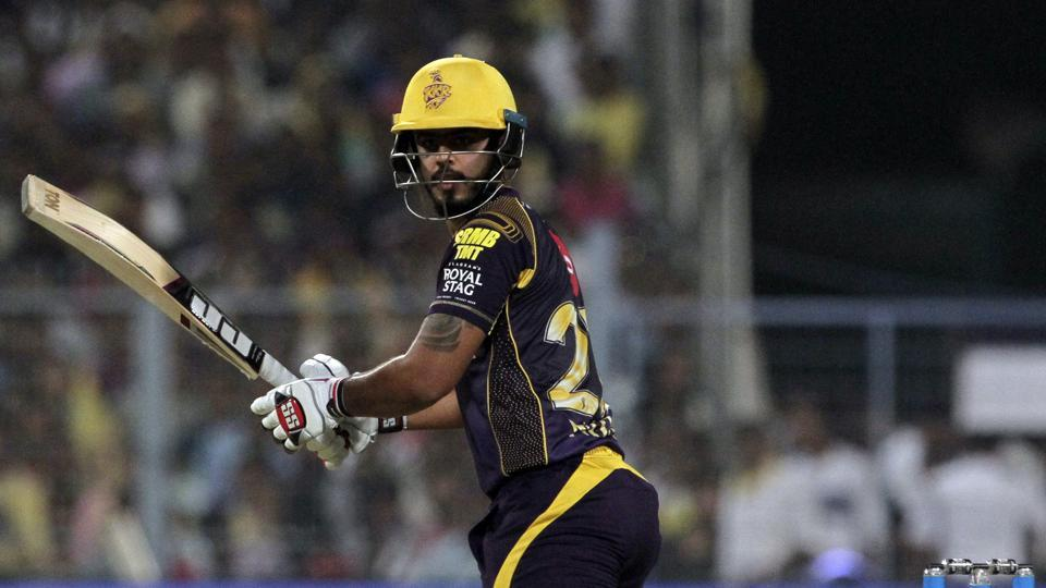 Nitish Rana in action during the 2018 Indian Premier League (IPL) match between Kolkata Knight Riders and Delhi Daredevils in Kolkata on Monday.