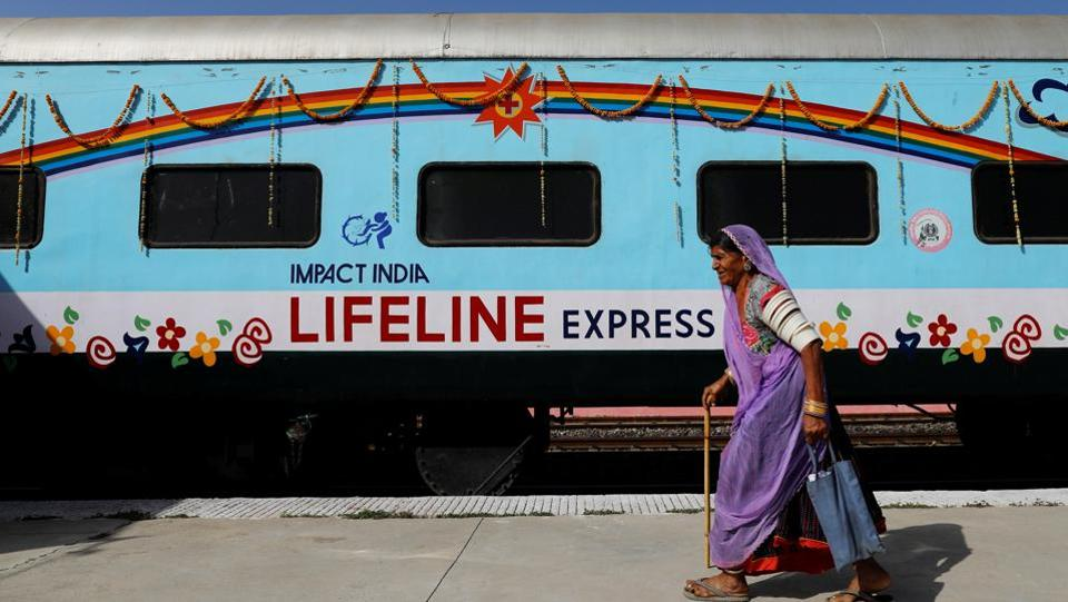 Days later came news of visiting specialists who would treat her for free. They arrived in early April as volunteers on the Lifeline Express, seen here parked at the railway station in Jalore, to treat people like Devi living in areas with inadequate healthcare. (Danish Siddiqui / REUTERS)
