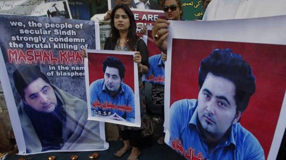 A Pakistani civil society group demonstrates last April against the killing of Mashal Khan, a student at the Abdul Wali Khan University in the northwestern city of Mardan, in Karachi. An event planned at the Lahore University of Management Sciences on April 13 to mark the brutal murder was forcibly cancelled.