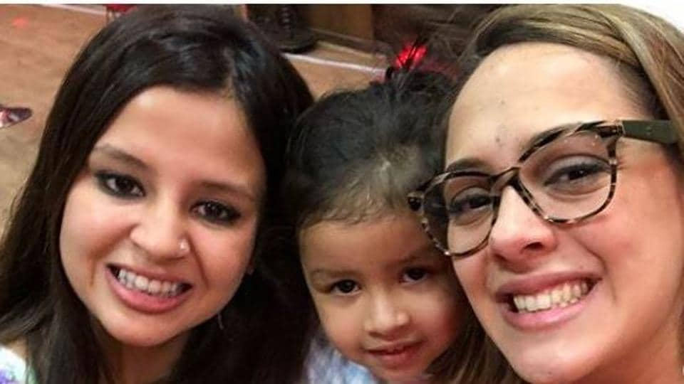 Ziva seen with her mother Sakshi Dhoni and HazelKeech during anIPL 2018 match between Chennai Super Kings and Kings XI Punjab on Saturday.