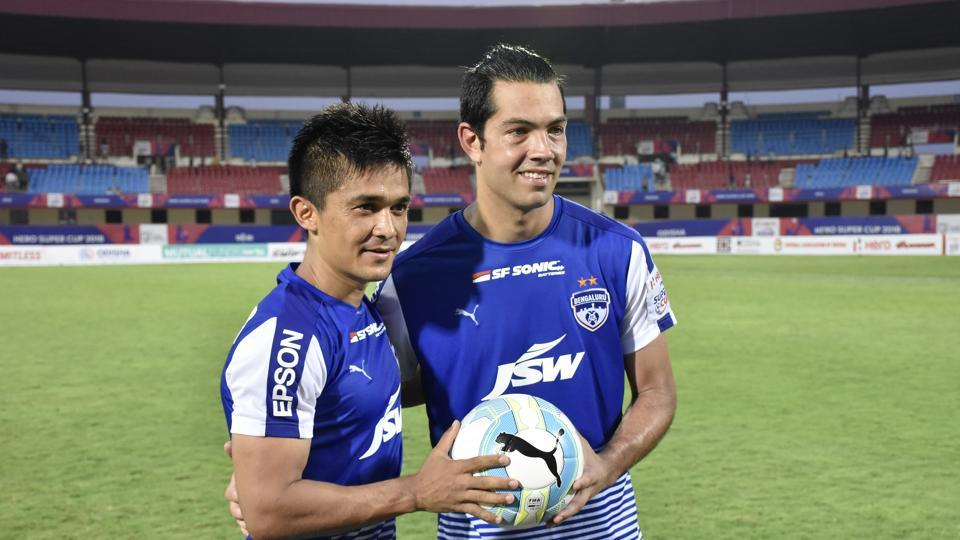 Miku (R) scored a hat-trick while Sunil Chhetri scored the final goal to help Bengaluru FC beat Mohun Bagan 4-2 and reach the final of the Super Cup, in Bhubaneswar on Tuesday.