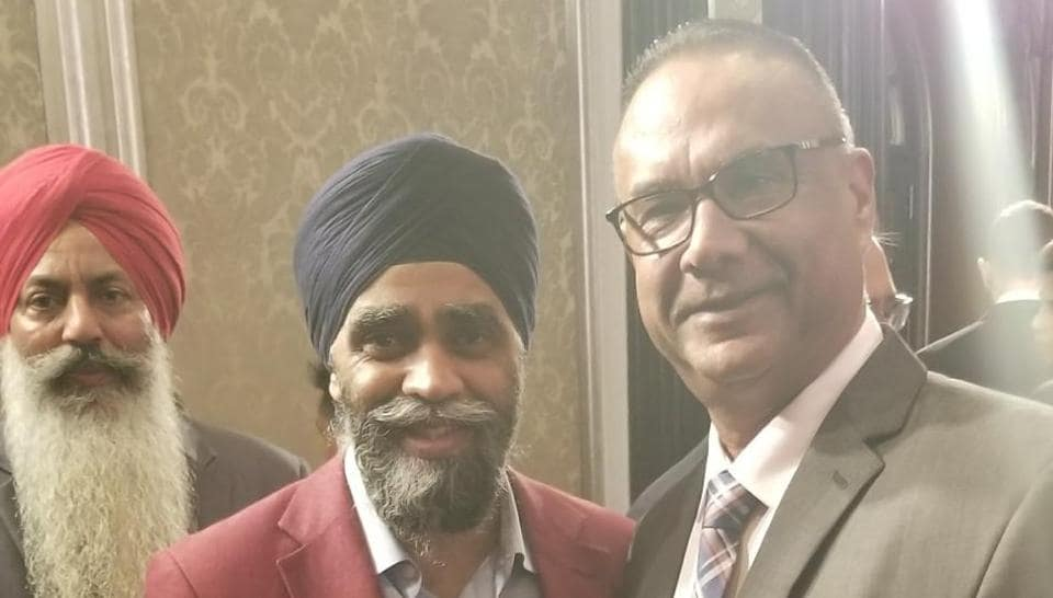 Jaspal Atwal with federal minister Harjit Sajjan at the Mumbai reception in honour of Prime Minister Justin Trudeau during his trip to India in February.