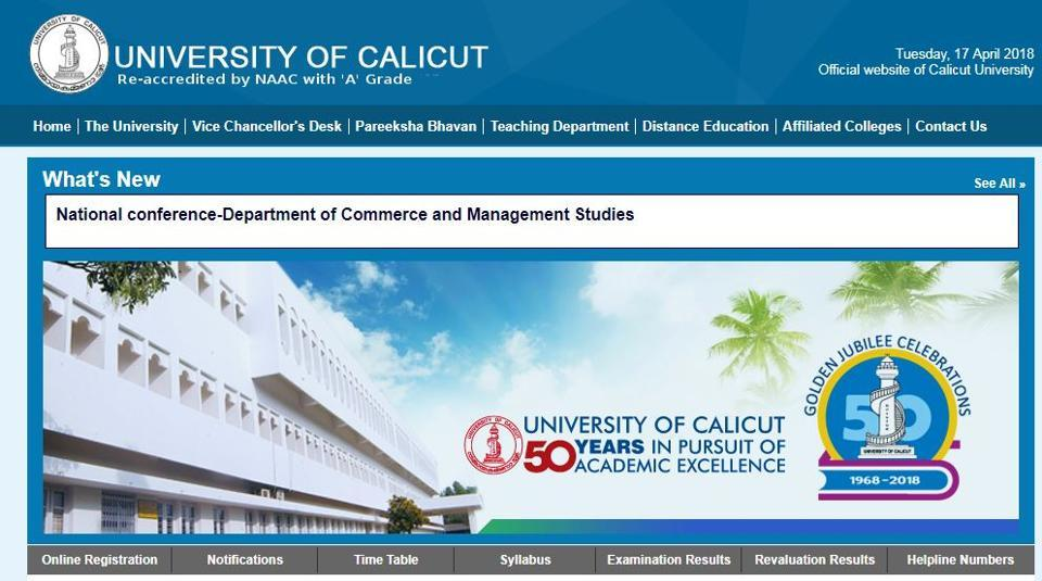 og onto to universityofcalicut.info and click on the 'examination results' tab.