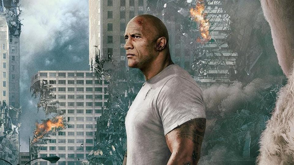 Dwayne Johnson in a still from Rampage.