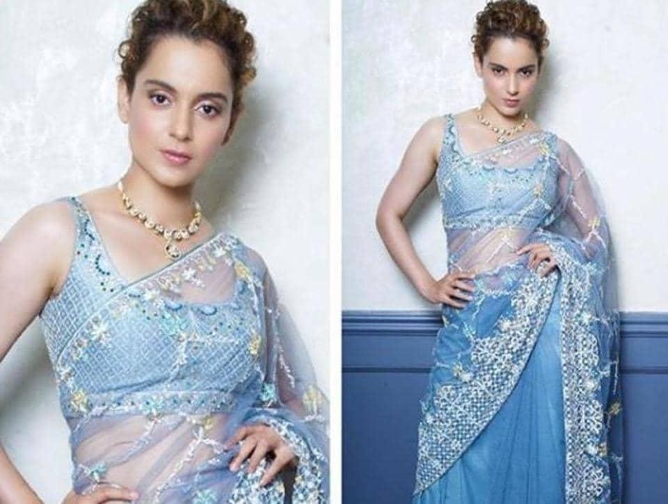 Kangana Ranaut\'s blue saree looked like an Indian take on Elsa\'s ...