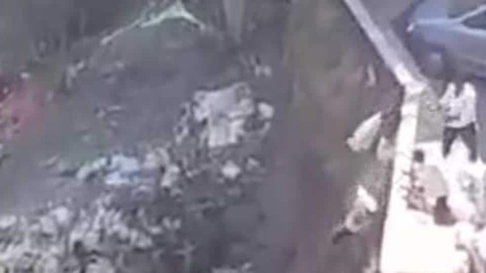 Footage captured on a resident's phone shows debris being dumped into the national park.