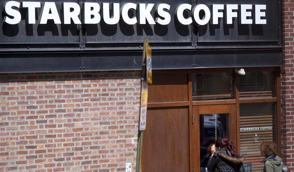 Starbucks in Philadelphia, the USA, on Monday. The episode highlights the risks large corporations run when they tie their brands so closely to social messaging.
