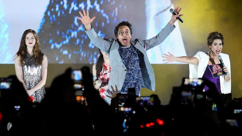 Robert Downey Jr greets fans during a fan event for Marvel Studio's Avengers: Infinity War movie in Singapore, April 16, 2018.