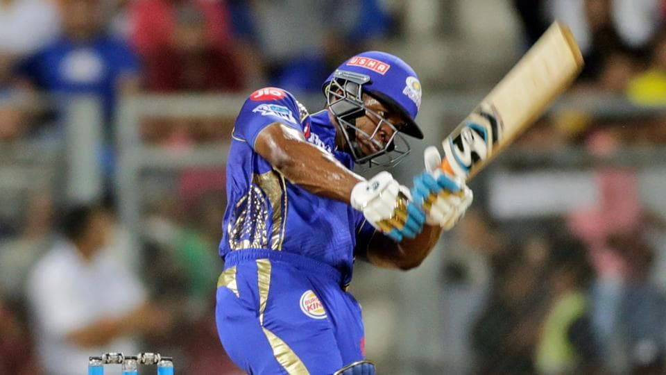 Evin Lewis in action during match fourteen of the 2018 Indian Premier League 2018 (IPL 2018) between Mumbai Indians and Royal Challengers Bangalore at the Wankhede Stadium in Mumbai.