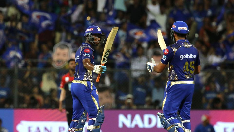 Evin Lewis shared a 108-run stand with skipper Rohit Sharma as Mumbai Indians were on course for a massive score.  (BCCI)