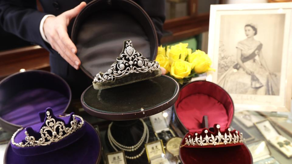 Diamond tiaras are displayed at Bradley & Skinner- an antique and period jewellery specialist in London.
