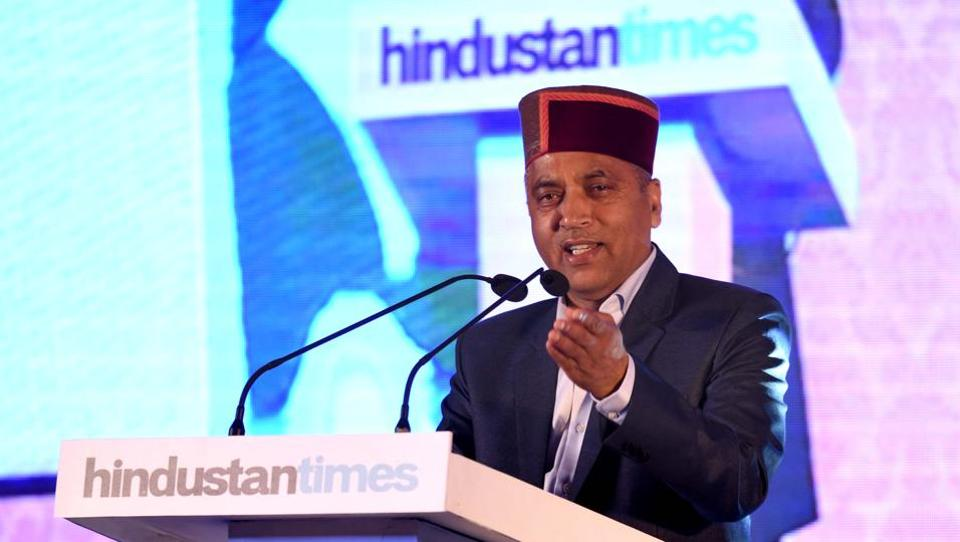 "Himachal Pradesh chief minister Jairam Thakur  during the 'Turning 18"" function on Wednesday. He said media's contribution to development of society is immense and that news outlets should give greater coverage to issues of rural areas. (Sanjeev Sharma/HT)"