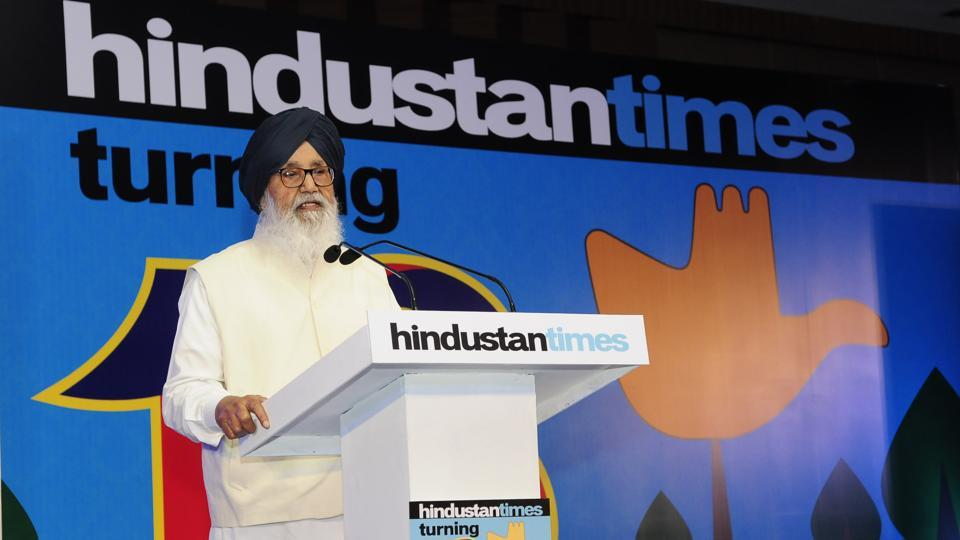 "Former Punjab CM Parkash Singh Badal during the function.Congratulating the HT team, Badal said, ""Hindustan Times is the first newspaper I pick up to read along with my morning tea."" He also said newspapers need to focus on agriculture, peace and communal harmony. (Keshav Singh/HT)"