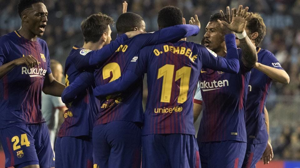 10-man Barcelona held by Celta
