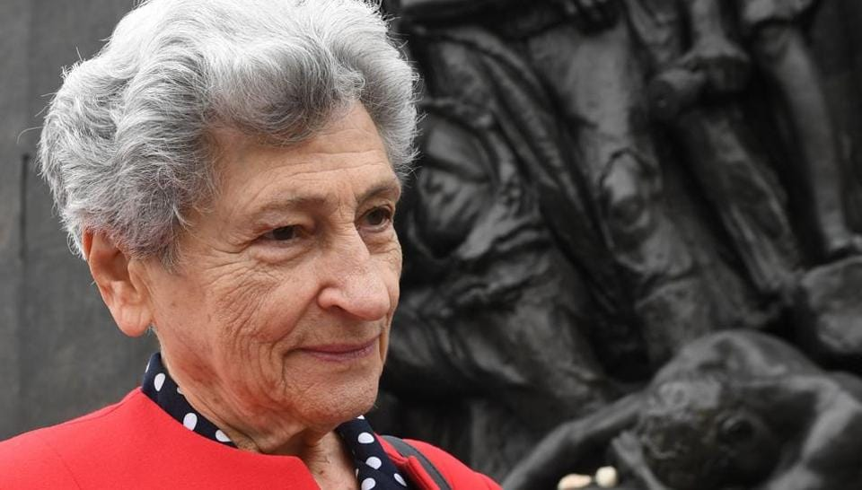 Warsaw Ghetto Holocaust survivor, Krystyna Budnicka poses on April 16, 2018 in front of the Monument to the Ghetto Heroes in Warsaw. At 86 years old and the last remaining member of her family, Krystyna Budnicka has made it her mission to recount how she survived the Warsaw ghetto in order to keep her loved ones' memory alive.