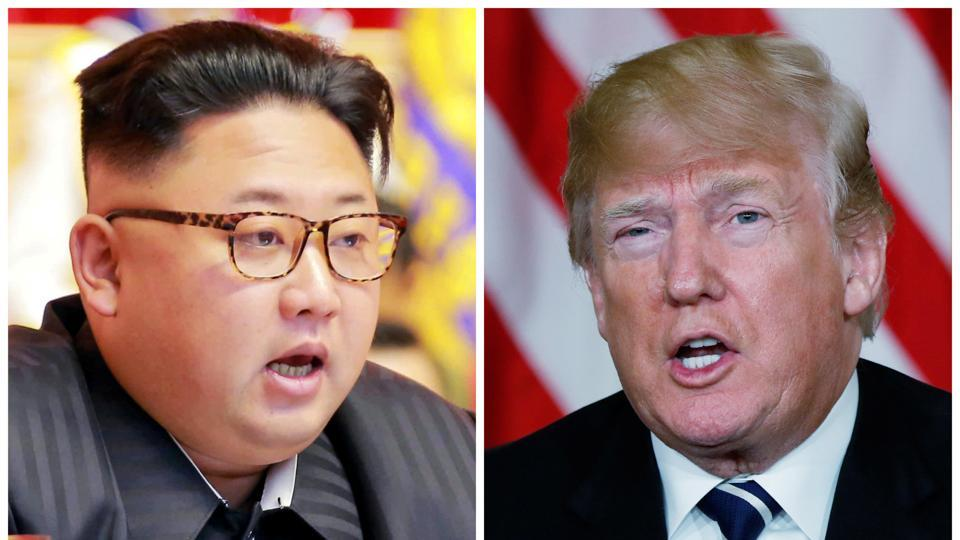 A combination photo shows North Korean leader Kim Jong Un (left) in Pyongyang, North Korea, and US President Donald Trump in Palm Beach, Florida, US. The summit meeting between the two leaders is expected to be held is sometime around June.