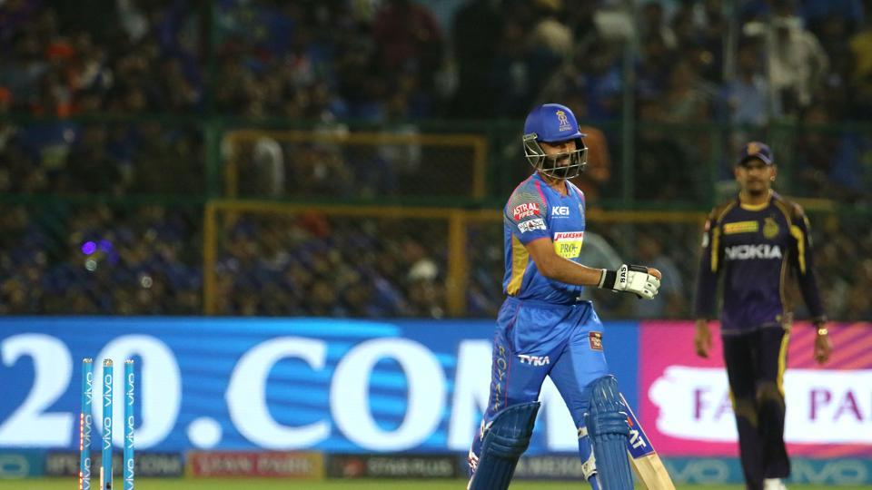 Rahane's 36-run innings ended when Karthik effected a brilliant run-out after collecting the ball from in front of the stumps.  (BCCI )