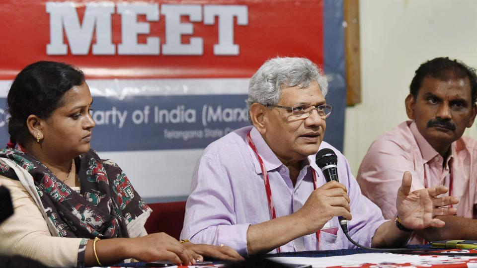 CPI(M) general secretary Sitaram Yechury addresses media at the 22nd Party National Congress in Hyderabad.