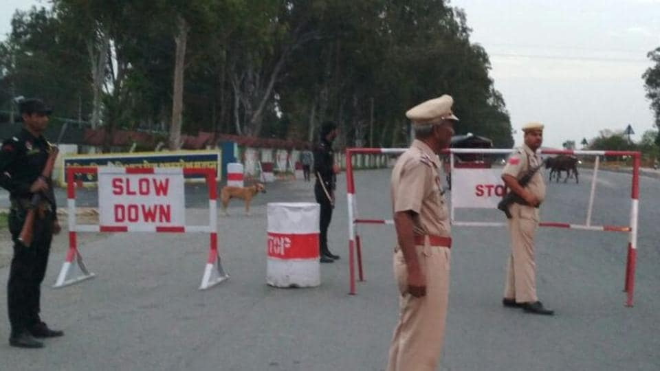 Security personnel near the Pathankot air force station on Thursday.