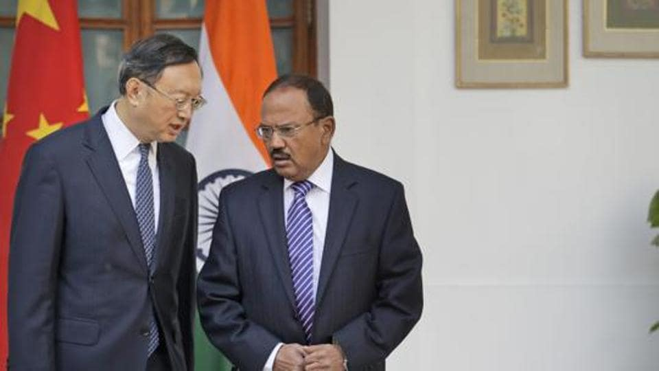 National Security Advisor Ajit Doval with Chinese State Councillor Yang Jiechi before their delegation-level meeting in New Delhi.