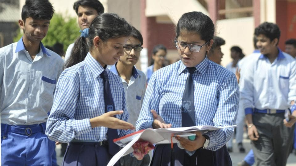 CBSE Class 10 English exam 2018: Students of CBSE board Class 10 coming out from the examination centre after sitting their English exam at Central Academy in Lucknow on March 12, 2018.