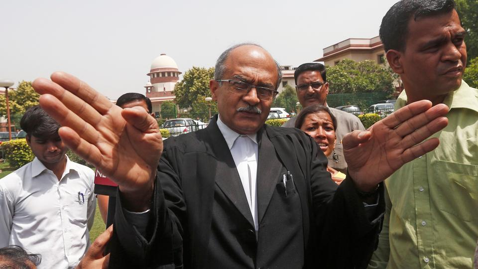 Prashant Bhushan, a senior lawyer representing the petitioner, speaks with media outside the Supreme Court in New Delhi. The Supreme Court of India dismissed petitions calling for an investigation into the death of special CBI judge BH Loya, ruling that he died of natural causes and the petitions were a serious attempt to scandalise and obstruct the course of justice. (Adnan Abidi / REUTERS)