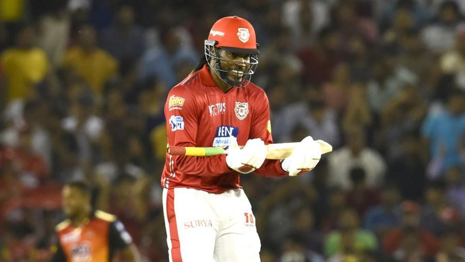 Chris Gayle scored 104 off 63 balls for Kings XI Punjab in their IPL 2018 match against Sunrisers Hyderabad in Mohali today.