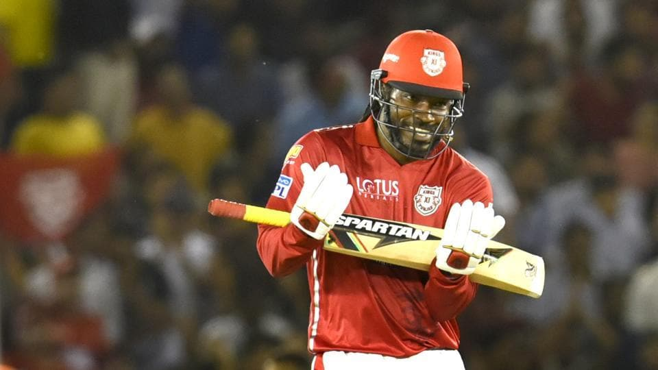 Chris Gayle's century saw Kings XI Punjab beat Sunrisers Hyderabad by 15 runs in their IPL 2018 game in Mohali on Thursday.  (HT Photo)