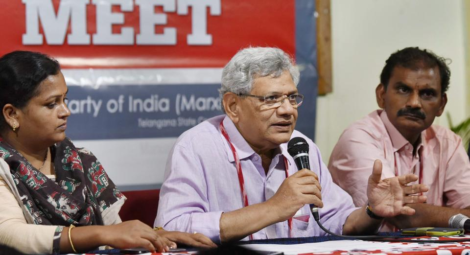 CPI(M) general secretary Sitaram Yechury addresses the media as a part of the 22nd Party National Congress in Hyderabad on Thursday.